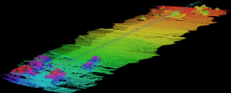 Utility lines mapped using YellowScan UAV LiDAR
