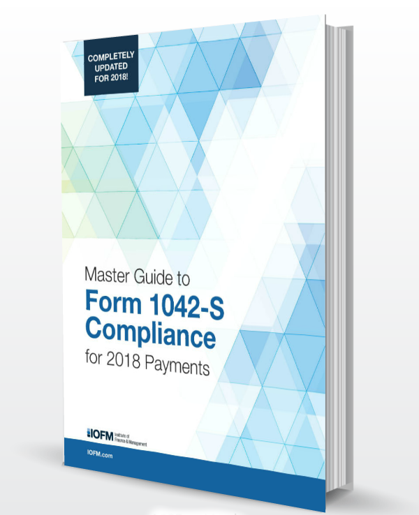 2018 Master Guide To Form 1042 S Compliance Institute Of Finance